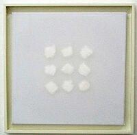 kunst-minimalisme-wandobject met witte watten-Henk Peeters-4.jp