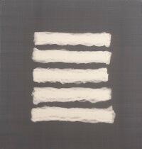 kunst-minimalisme-wandobject met witte watten-Henk Peeters-5.jp
