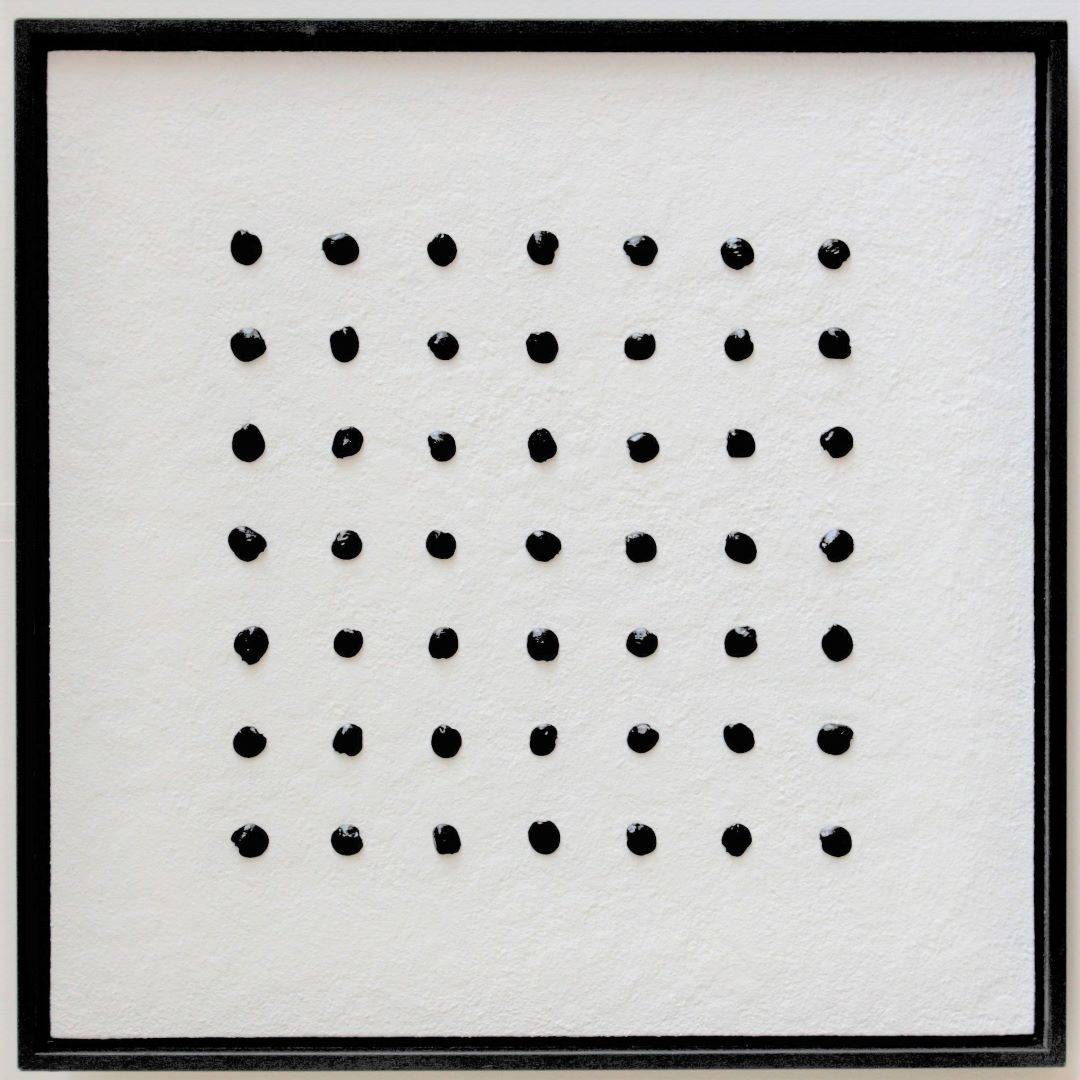95a kunst minimalisme schilderij wit diameter 100cm 1250 euro henkbroeke